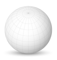 Blank planet earth white globe with grid of vector