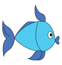 blue and light blue fish on white background vector image