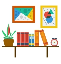 bookshelf on white wall vector image