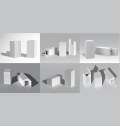 box mockup realistic cardboard white blank vector image