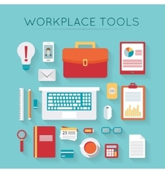 Business workplace with computer vector image