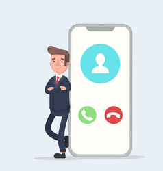 businessman and smartphone with a call on the vector image