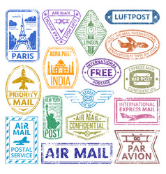 card stamps vintage postage countries all vector image