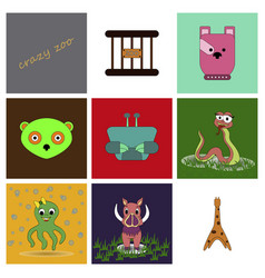 Cartoon cute animals for baby card and invitation vector
