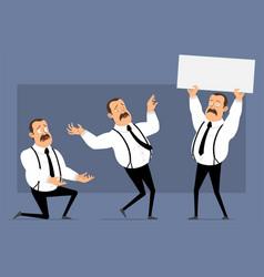cartoon funny fat office man character set vector image