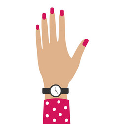 caucasus female hand with a clock pink manicure vector image