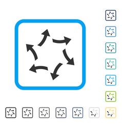 Centrifugal arrows framed icon vector