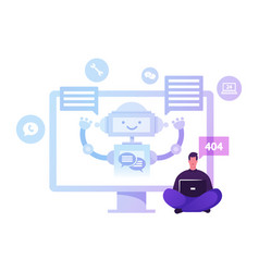 Chatbot ai robot chatting with client faq vector
