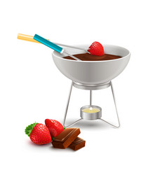 chocolate fondue realistic composition vector image