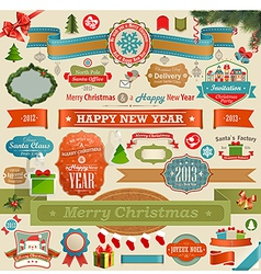 Christmas set - vintage ribbons vector image