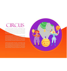 circus acrobat clown and elephant carnival show vector image