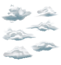 collection clouds isolated on white background vector image