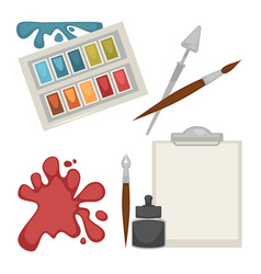 colorful equipment set for painting isolated on vector image