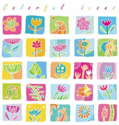 Colorful floral icons vector