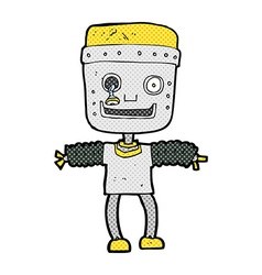 Comic cartoon robot vector