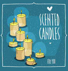 Composition with yellow burning candles vector