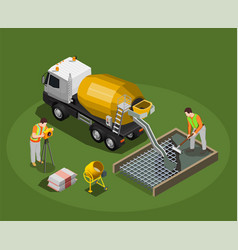 Concrete production isometric composition vector