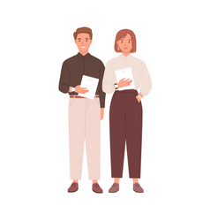 Couple colleagues standing together vector