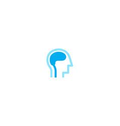 Creative blue human brain head logo symbol sign vector