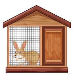 Cute rabbit in cage vector