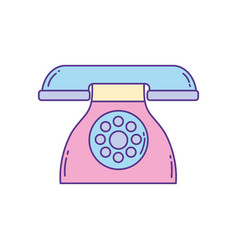 Dial operated telephone phone fill and line vector
