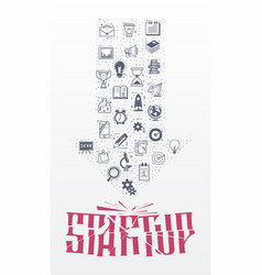 doodle icons - startup concept arrow painted flat vector image
