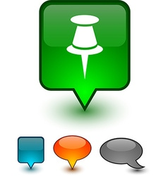 Drawing-pin speech comic icons vector