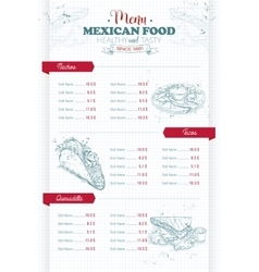 Drawing vertical scetch of mexican food menu vector