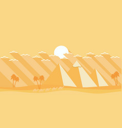 egyptian pyramids in a flat style deserted vector image