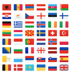 Europe flags icons set vector