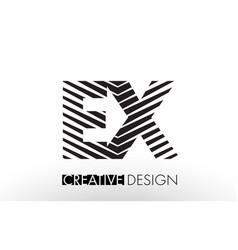 Ex e x lines letter design with creative elegant vector