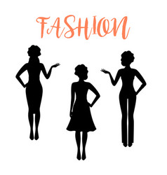fashion woman silhouette in business style vector image