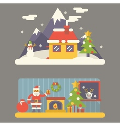 Flat Design New Year Landscape and Room Situation vector