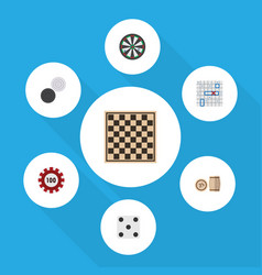 Flat icon games set arrow backgammon chequer vector