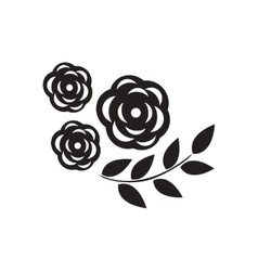 Flat icon in black and white flower vector