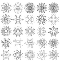 geometric set stars and flowers for gifts and vector image
