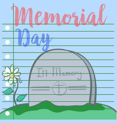 Greeting card of memorial day style vector