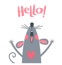 greeting card with a cute rat sweet mouse says vector image