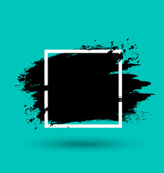 grunge frame background with paint stroke texture vector image