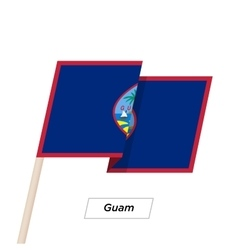 Guam Ribbon Waving Flag Isolated on White vector