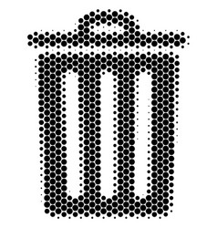 halftone dot trash bin icon vector image