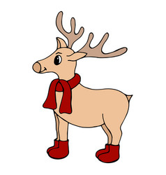 hand-drawn new years deer on a white background vector image