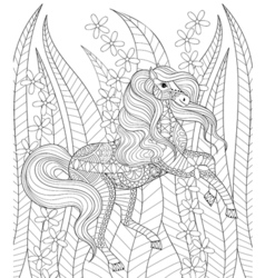 Hand drawn zentangle horse in grass and flowers vector