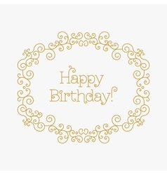 Happy Birthday card mono line style Art lines vector
