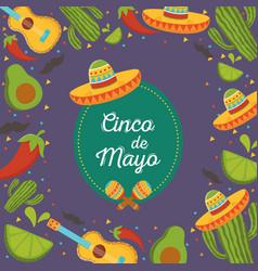 hat guitar pepper cactus cinco de mayo mexican vector image