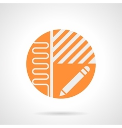 Heated floor project orange round icon vector image