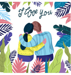 i love you loving couple among bright floral vector image