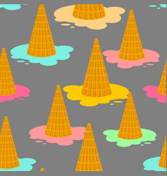 ice cream dropped pattern milk dessert lying on vector image