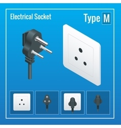 Isometric Switches and sockets set Type M AC vector