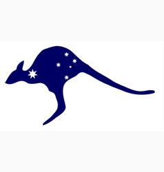 kangaroo with flag stars vector image